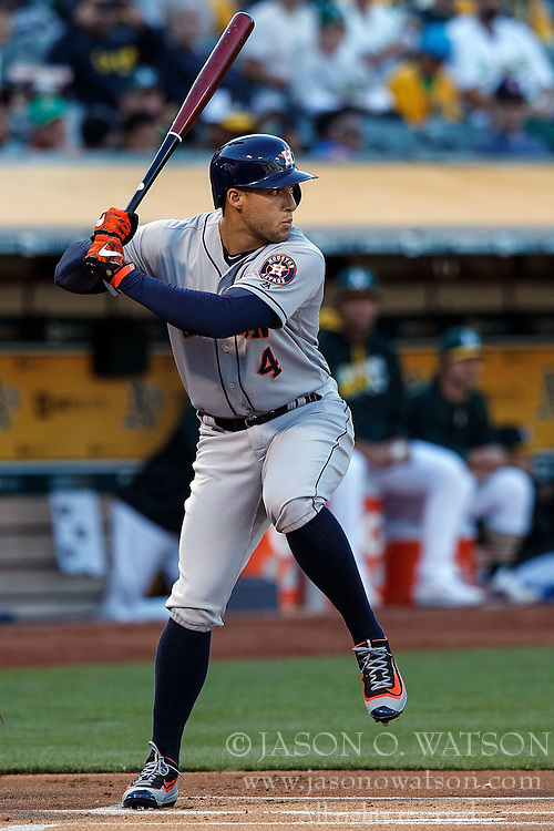 OAKLAND, CA - JULY 19:  George Springer #4 of the Houston Astros at bat against the Oakland Athletics during the first inning at the Oakland Coliseum on July 19, 2016 in Oakland, California. The Oakland Athletics defeated the Houston Astros 4-3 in 10 innings.  (Photo by Jason O. Watson/Getty Images) *** Local Caption *** George Springer