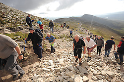 Pillgrims on their way up the slopes of Croagh Patrick yesterday for the annual pilgrimage. <br /> Pic Conor McKeown
