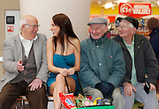 Repro Free: 01/11/2012.James Wheelan, Dick Grainger and John Donoghue are pictured with model Daniella Moyles at the launch of the new Dealz store in Dun Laoghaire, making this the 21st Dealz store to open in Ireland to date.  Situated in Bloomfield Shopping centre, Dealz Dun Laoghaire has created 30 new Irish jobs, brining the total number of jobs created in Ireland to 550. Commenting at the new store opening, Dealz business manager Brendan Doyle said: ?We are very excited to be expanding the Dealz portfolio in Ireland with the opening of our new store in Dun Laoghaire. Dealz is committed to brining amazing value to customers every day and we are looking forward to expanding further across the republic of Ireland. Pic Andres Poveda.