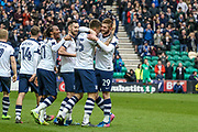 Preston striker Tom Barkhuizen celebrates putting Preston 1-0 up during the EFL Sky Bet Championship match between Preston North End and Reading at Deepdale, Preston, England on 11 March 2017. Photo by Pete Burns.
