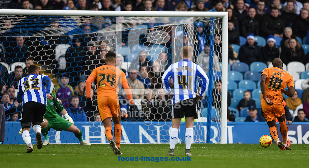 Benik Afobe of Wolverhampton Wanderers send Keiren Westwood the wrong way from the penalty spot to make it 1-0 during the Sky Bet Championship match at Hillsborough, Sheffield<br /> Picture by Richard Land/Focus Images Ltd +44 7713 507003<br /> 20/12/2015