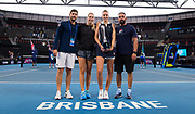 Karolina Pliskova of the Czech Republic and team with the champions trophy after winning the final of the 2020 Brisbane International WTA Premier tennis tournament - Photo Rob Prange / Spain ProSportsImages / DPPI / ProSportsImages / DPPI