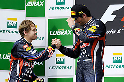 27.11.2011, Autodromo Jose Carlos Pace, Sao Paulo, BRA, F1, Grosser Preis von Brasilien, im Bild Podium - Sebastian Vettel (GER), Red Bull Racing - Mark Webber (AUS), Red Bull Racing // during the Formula One Championships 2011 Grand Prix of Brazil held at the Autodromo Jose Carlos Pace, Sao Paulo, Brazil on 2011/11/27. EXPA Pictures © 2011, PhotoCredit: EXPA/ nph/ Mathi ..***** ATTENTION - OUT OF GER, CRO *****