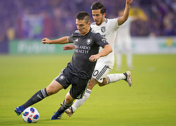 April 21, 2018 - Orlando, FL, U.S. - ORLANDO, FL - APRIL 21: Orlando City midfielder Will Johnson (4) during the MLS soccer match between the Orlando City FC and the San Jose Earthquakes at Orlando City SC on April 21, 2018 at Orlando City Stadium in Orlando, FL. (Photo by Andrew Bershaw/Icon Sportswire) (Credit Image: © Andrew Bershaw/Icon SMI via ZUMA Press)