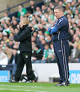 Rangers' assistant boss Ally McCoist and Celtic manager Gordon Strachan during the League Cup final between Rangers and Celtic at Hampden Park -<br /> David Young Universal News And Sport