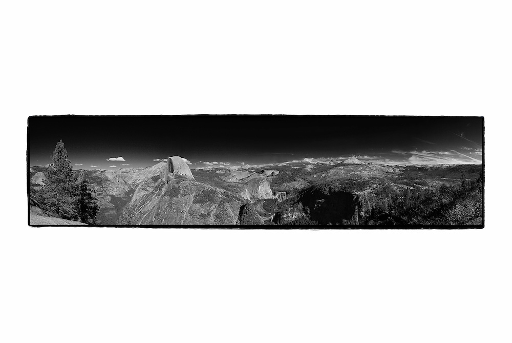 Half Dome Panoramic View - Glacier Point - Yosemite - Black & White - Custom Border 12x18 Layout
