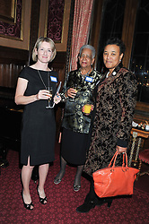 Left to right, KATE LAFFAR, BARONESS ROSALIND HOWELLS and BARONESS SCOTLAND at a reception for the Stephen Lawrence Charitable Trust hosted by the Speaker of The House of Commons John Bercow and supported by law firm Freshfields Bruckhaus Deringer in The State Rooms, Speaker's House, the House of Commons, London on 19th December 2012.