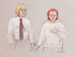 © Licensed to London News Pictures. 23/07/2011. Manchester, UK. A court artist's drawing of Rebecca Leighton (right) appearing at Manchester Magistrates' Court today (23/07/2011).  27 year old Rebecca is charged with with six counts of causing damage with intent to endanger life in connection with five deaths at Stepping Hill Hospital in Stockport. Photo credit : ©Artist Julia Quenzler/LNP