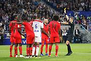 Yellow card Balotelli Mario of Nice and Letexier Francois Referee during the French championship L1 football match between Olympique Lyonnais and Amiens on August 12th, 2018 at Groupama stadium in Decines Charpieu near Lyon, France - Photo Romain Biard / Isports / ProSportsImages / DPPI