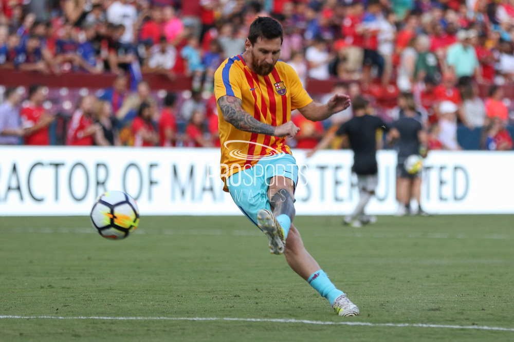 Barcelona Lionel Messi in warm up during the International Champions Cup match between Barcelona and Manchester United at FedEx Field, Landover, United States on 26 July 2017.