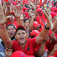 Millions of people wearing red fill the streets of downtown Caracas to show support for the re-election campaign of  Venezuelan President Hugo Chavez, Sunday, November 26, 2006.