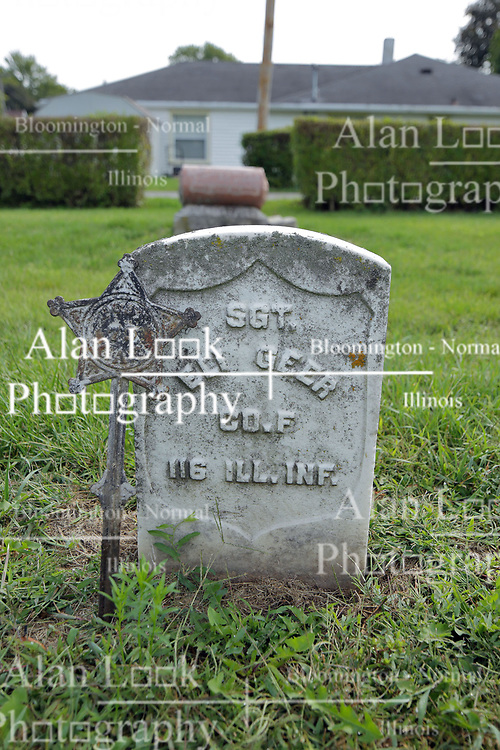 31 August 2017:   Veterans graves in Cheneys Grove Township Cemetery in eastern McLean County.<br /> <br /> Sergeant Eli Geer  Co F  116 IL INF