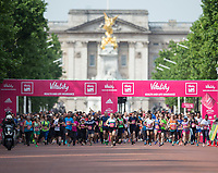 A mass start with Buckingham in the background at The Vitality Westminster Mile, Sunday 28th May 2017.<br /> <br /> Photo: Ben Queenborough for The Vitality Westminster Mile<br /> <br /> For further information: media@londonmarathonevents.co.uk