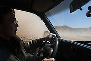 Mongolia. the outskirts of Ulan Baatar - sand storm  on the west road./ route de l ouest. tempete de sable  Oulan Bator - Mongolie