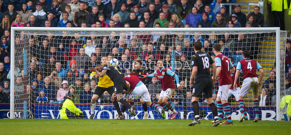 BURNLEY, ENGLAND - Saturday, April 3, 2010: Manchester City's Patrick Vieira scores the third goal against Burnley during the Premiership match at Turf Moor. (Photo by David Rawcliffe/Propaganda)