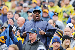 Nov 18, 2017; Morgantown, WV, USA; A West Virginia Mountaineers fan cheers during the third quarter against the Texas Longhorns at Milan Puskar Stadium. Mandatory Credit: Ben Queen-USA TODAY Sports