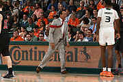 January 3, 2019: Head coach Kevin Keatts of North Carolina State in action during the NCAA basketball game between the Miami Hurricanes and the North Carolina State Wolfpack in Coral Gables, Florida. The Wolfpack defeated the 'Canes 87-82.