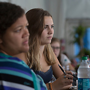 August 16, 2014, New Haven, CT:<br /> Guests attend the Aetna Symposium on day four of the 2014 Connecticut Open at the Yale University Tennis Center in New Haven, Connecticut Monday, August 18, 2014.<br /> (Photo by Billie Weiss/Connecticut Open)