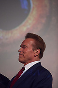 "Arnold Schwarzenegger presenting the documentary film ""Wonders of the sea"", produced by Arnold Schwarzenegger and Francois Montello, directed by Jean-Michel Cousteau and Jean-Jacques Montello, with the support of R20, Di Caprio Fondation and Green Cross, Paris, France"