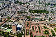 Nederland, Noord-Holland, Amsterdam, 29-06-2018; Amsterdam-Zuid, Nieuwe Pijp met onder andere Okura Hotel, Ferdinand Bolstraat, Sarphatipark.<br /> Southern part of Amsterdam.<br /> <br /> luchtfoto (toeslag op standard tarieven);<br /> aerial photo (additional fee required);<br /> copyright foto/photo Siebe Swart
