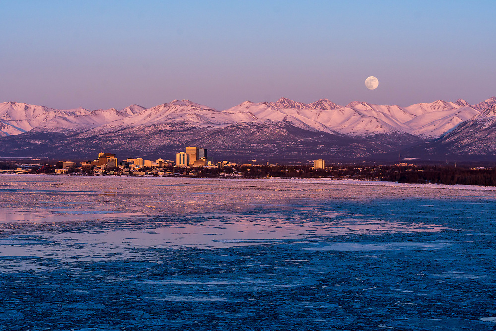 Anchorage, Knik Arm, Chugach Mountains and the moon.