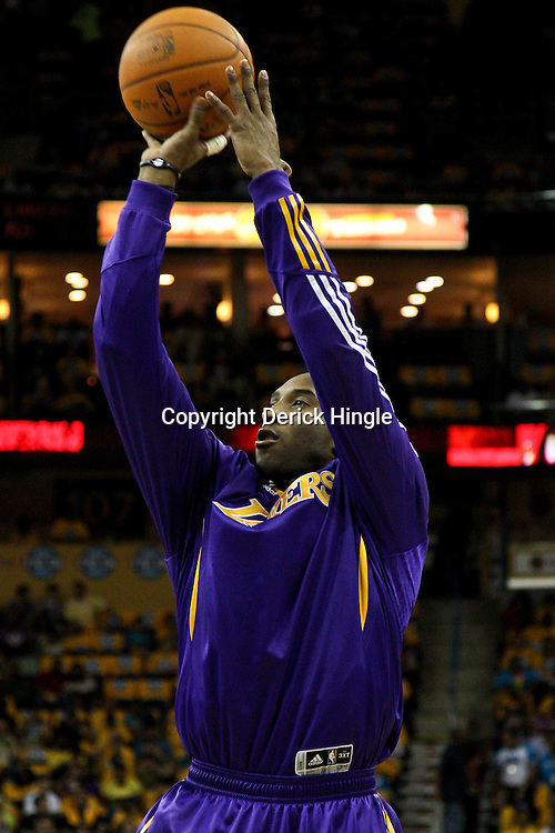 April 22, 2011; New Orleans, LA, USA; Los Angeles Lakers shooting guard Kobe Bryant (24) before game three of the first round of the 2011 NBA playoffs against the New Orleans Hornets at the New Orleans Arena.    Mandatory Credit: Derick E. Hingle