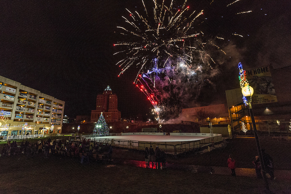 Huntington Bank fireworks show at First Night Akron 2017 on Dec. 31, 2016.