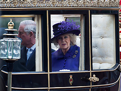 © London News Pictures. 03/03/2015. London, UK. Prince Charles, Prince of Wales and Camilla, Duchess of Cornwall riding in a state carriage back to Buckingham Palace following a ceremonial welcome for Mexican President Enrique Pena Nieto. Photo credit: Ben Cawthra/LNP