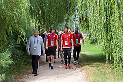LYON, FRANCE - Wednesday, July 6, 2016: Wales' Les Miles, Simon Church and Andy King on a pre-match walk near their team hotel before the UEFA Euro 2016 Championship Semi-Final match against Portugal. (Pic by David Rawcliffe/Propaganda)