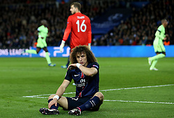David Luiz of Paris Saint-Germain looks dejected after conceding a goal to Kevin De Bruyne of Manchester City - Mandatory by-line: Robbie Stephenson/JMP - 06/04/2016 - FOOTBALL - Parc des Princes - Paris,  - Paris Saint-Germain v Manchester City - UEFA Champions League Quarter Finals First Leg