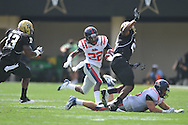 Ole Miss' Philander Moore (22) runs in Nashville, Tenn. on Saturday, September 17, 2011. Vanderbilt won 30-7..