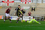 Morecambe Goalkeeper Kieran O'Hara during the Sky Bet League 2 match between Northampton Town and Morecambe at Sixfields Stadium, Northampton, England on 23 January 2016. Photo by Dennis Goodwin.`