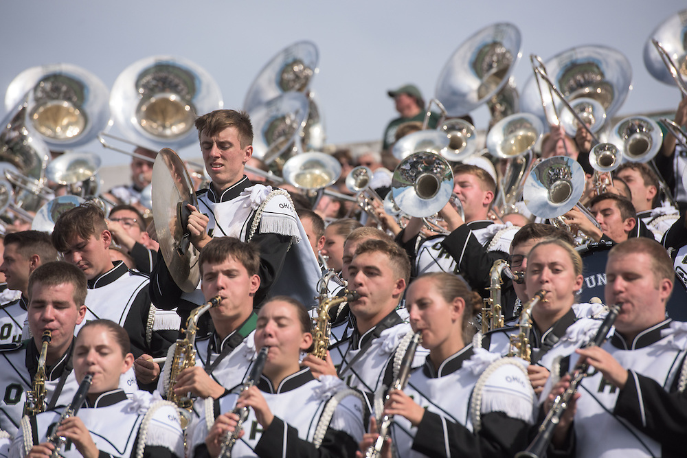 The Ohio University Marching 110 perform in their stadium section during the homecoming matchup against Bowling Green at Peden Stadium in Athens, Ohio on Saturday, October 8, 2016.