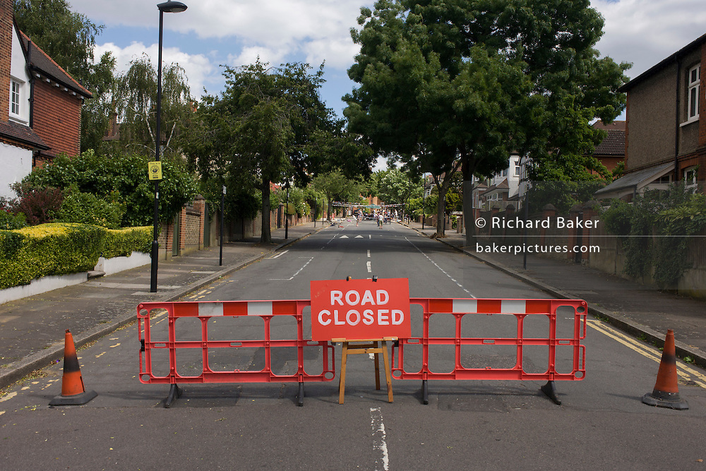 Closed Road during a street party in the south London borough of Lambeth in SE24.