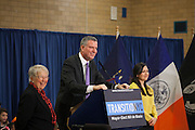 Mayor-Elect Bill de Blasio announces his appointment of Carmen Fari&ntilde;a, left, as Schools Chancellor at William Alexander Middle School in Park Slope, Brooklyn, NY on Monday, Dec. 30, 2013. At far right is Ursulina Ramierez, whom Fari&ntilde;a selected as her Chief of Staff.<br /> <br /> CREDIT: Andrew Hinderaker for The Wall Street Journal<br /> SLUG: NYSTANDALONE