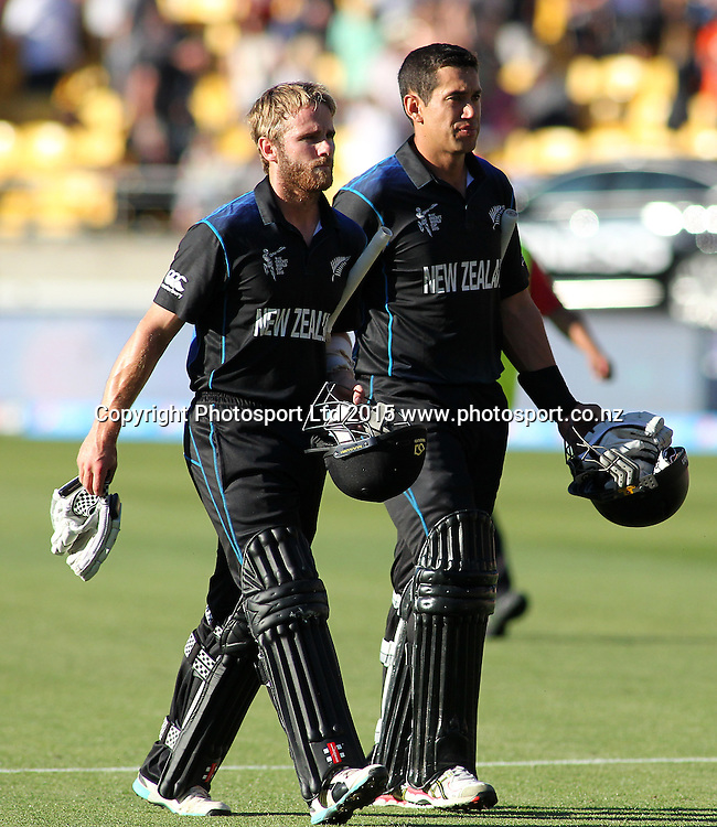 Kane Williamson & Ross Taylor, after scoring the winning runs, during the ICC Cricket World Cup match between New Zealand and England at Wellington Regional Stadium, New Zealand. Friday 20th February 2015. Photo.: Grant Down / www.photosport.co.nz
