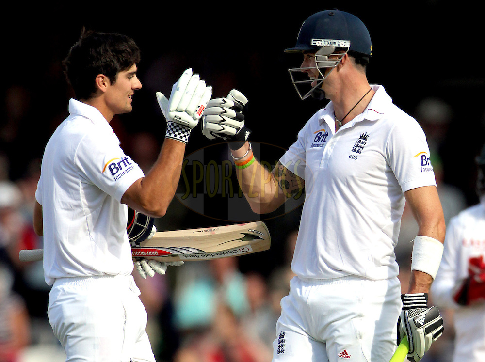 © Andrew Fosker / Seconds Left Images 2012 - England's Alastair Cook celebrates his 100, hundred, century  with England's Kevin Pietersen (R)  England v South Africa - 1st Investec Test Match -  Day 1 - The Oval  - London - 19/07/2012