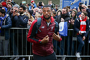 Liverpool midfielder Georginio Wijnaldum (5) arrives off the coach during the Premier League match between Brighton and Hove Albion and Liverpool at the American Express Community Stadium, Brighton and Hove, England on 12 January 2019.