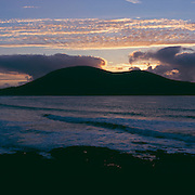 View overlooking Scarista Bay on South Harris as the sun sets, Scotland