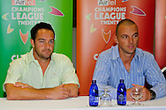 Mark Boucher and Davey Jacobs during the Warriors press conference held at The Radisson Blu  hotel in Port Elizabeth on the 7th September 2010 held as part of the build up to the Champions League T20 tournament being held in South Africa between the 10th and 26th September 2010..Photo by: Deryck Foster/SPORTZPICS/CLT20