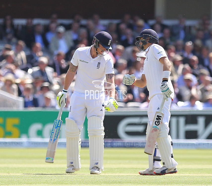 England Ben Stokes and England Joe Root after England Ben Stokes hits a six during the first day of the Investec 1st Test  match between England and New Zealand at Lord's Cricket Ground, St John's Wood, United Kingdom on 21 May 2015. Photo by Ellie  Hoad.