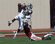 October 06, 2012 -  Michigan State Spartans wide receiver Aaron Burbridge (16) makes a grab over the top of Indiana Hoosiers cornerback Brian Williams (7) during the second half of an NCAA football game between Michigan State and Indiana at Memorial Stadium in Bloomington, Indiana. Michigan State defeated Indiana 31-27.