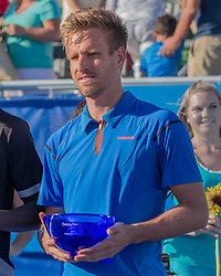 February 25, 2018 - Delray Beach, FL, US - PETER GOJOWCZYK (Ger) holding his trophy for playing in the Delray Beach Open Men's Singles Final at the Delray Beach Tennis Stadium. He lost to FRANCIS TIAFOE (US) 6-1, 6-4. (Credit Image: © Arnold Drapkin via ZUMA Wire)