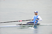 Munich, GERMANY, Men's Single sculls, ITA. M1X. Alessio SARTORI. 2011 FISA World Cup 1st Rd. Munich.  Munich Olympic Rowing Course, Friday  27/05/2011  [Mandatory Credit Peter Spurrier/ Intersport Images].