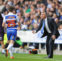 Reading Manager, Nigel Adkins passes Reading's Jake Taylor the ball. - Photo mandatory by-line: Alex James/JMP - Mobile: 07966 386802 - 18/10/2014 - SPORT - Football - Reading - Madejski Stadium - Reading v Derby County - Sky Bet Championship