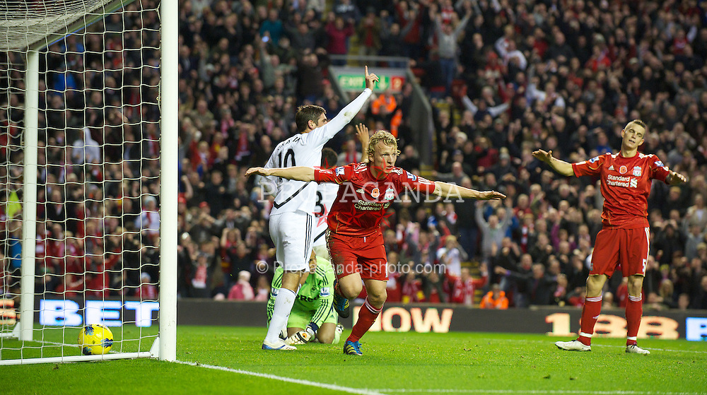 LIVERPOOL, ENGLAND - Saturday, November 5, 2011: Liverpool's Dirk Kuyt celebrates scoring a goal but it is disallowed during the Premiership match against Swansea City at Anfield. (Pic by David Rawcliffe/Propaganda)