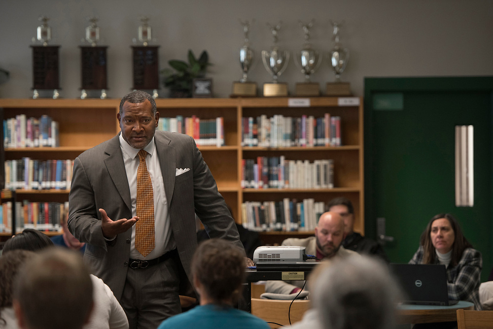 Superintendent Dr Anthony Hamlet pledges his support after listening to teachers at a teacher  feedback session at Taylor Allderdice High School.