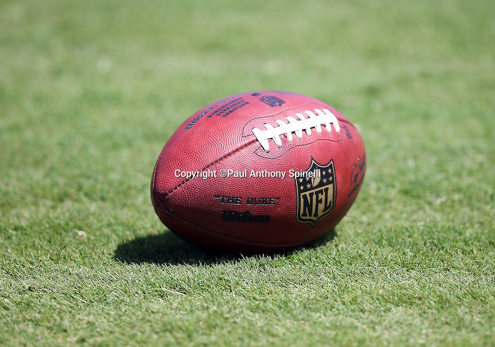 A football lies on the grass during the San Diego Chargers 2016 NFL minicamp football practice held on Tuesday, June 15, 2016 in San Diego. (©Paul Anthony Spinelli)