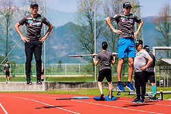 Zak Mogel and Anze Lanisek of national ski jumping team during training of Slovenian Ski Jumping team, on April 25th, 2019 in Sports Park Kranj, Kranj, Slovenia. Photo by Grega Valancic / Sportida