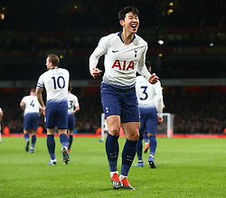 December 19, 2018 - London, England, United Kingdom - London, UK, 19 December, 2018.Tottenham Hotspur's Son Heung-Min celebrate Tottenham Hotspur's Dele Alli goal.during Carabao Cup Quarter - Final between Arsenal and Tottenham Hotspur  at Emirates stadium , London, England on 19 Dec 2018. (Credit Image: © Action Foto Sport/NurPhoto via ZUMA Press)